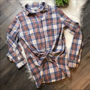 Old Navy Gray Salmon Plaid Flannel Shirt
